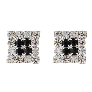 White and Black Colour Rhombus Shape Ear  Studs for Girls and Womens