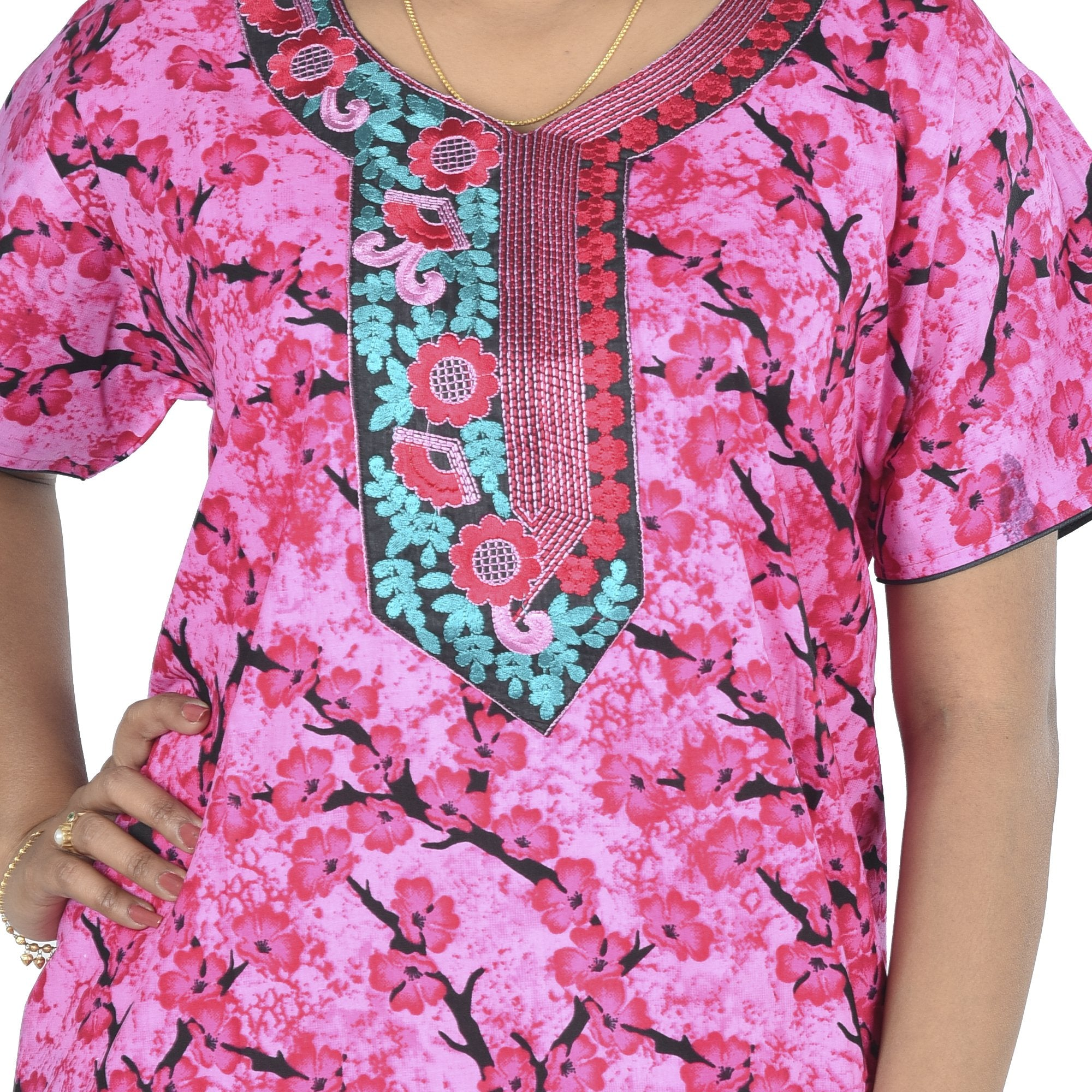 Embroidery CottonPrinted Nighty for Ladies