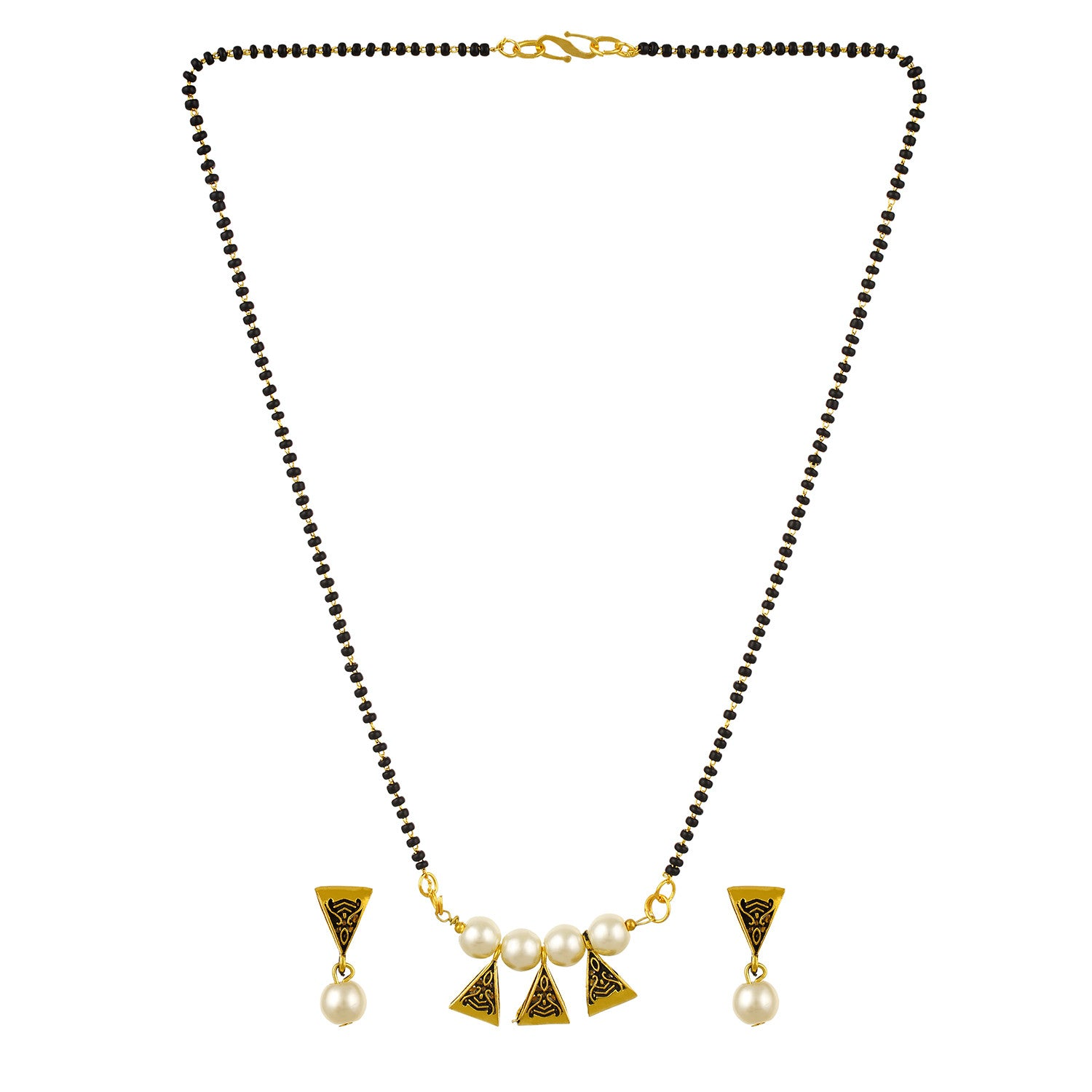 Gold Plated Alloy Pearl Mangalsutra Earrings Jewelry Set Black Beaded for Women