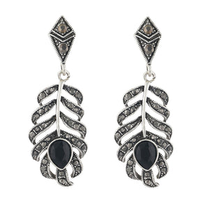 Spectacular Oxide Silver Colour Leaf Shape Earring for Girls and Women