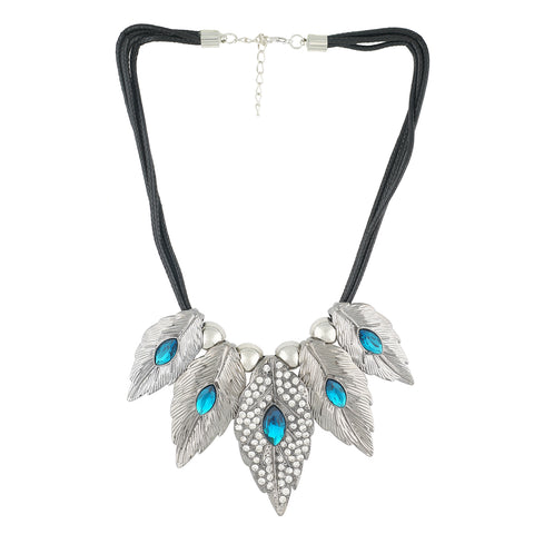 Silver and Blue Coloured Mayur stones studded Necklace For Girls and Women