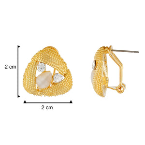 Gold Colour Triangular Shape Ear  Studs for Girls and Womens