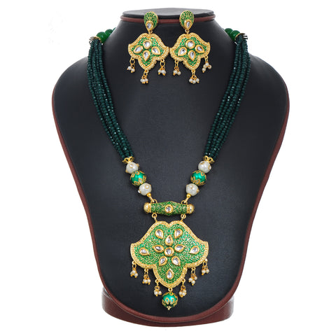 Gold Plated Enameled Kundan Meenakari Beaded Necklace with Earrings Set for Women (Green)