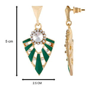 Green colour Triangular Design Hanging Earrings for Girls and Women