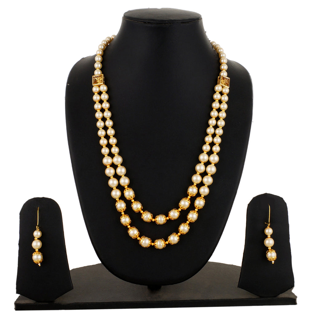 Gold Plated Long 2 Line Pearl Necklace and Earrings Fashion Jewelry Set for Women and Girls