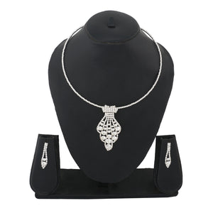 Silver Colour Formless Necklace and Earrings for Girls and Women