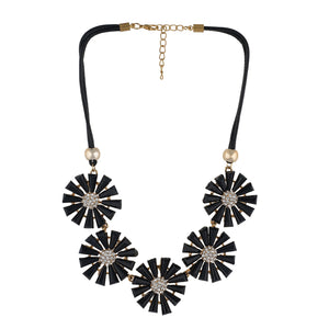 Black and Gold Coloured stones studded Floral Necklace For Girls and Women