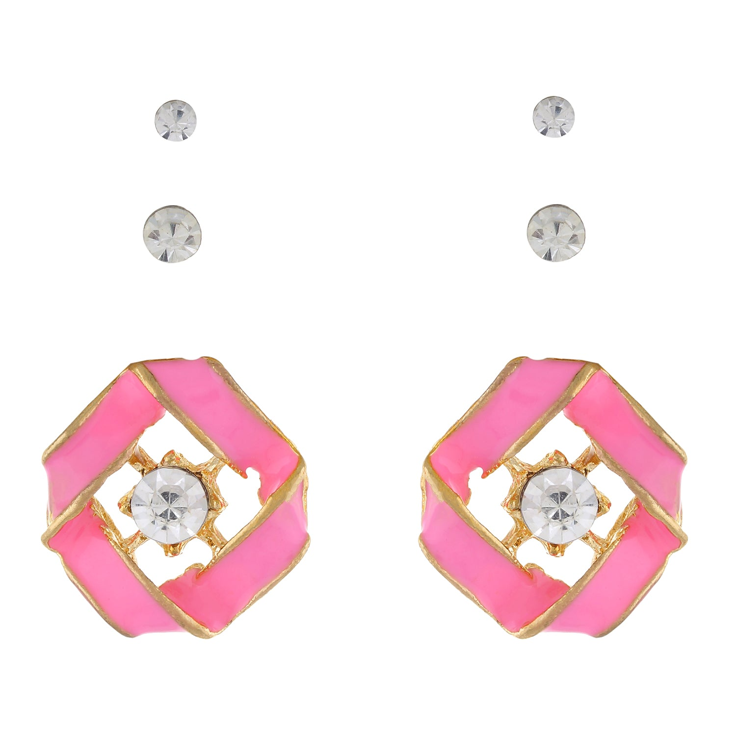 Pink colour Geometrical design  Studs for girls and women