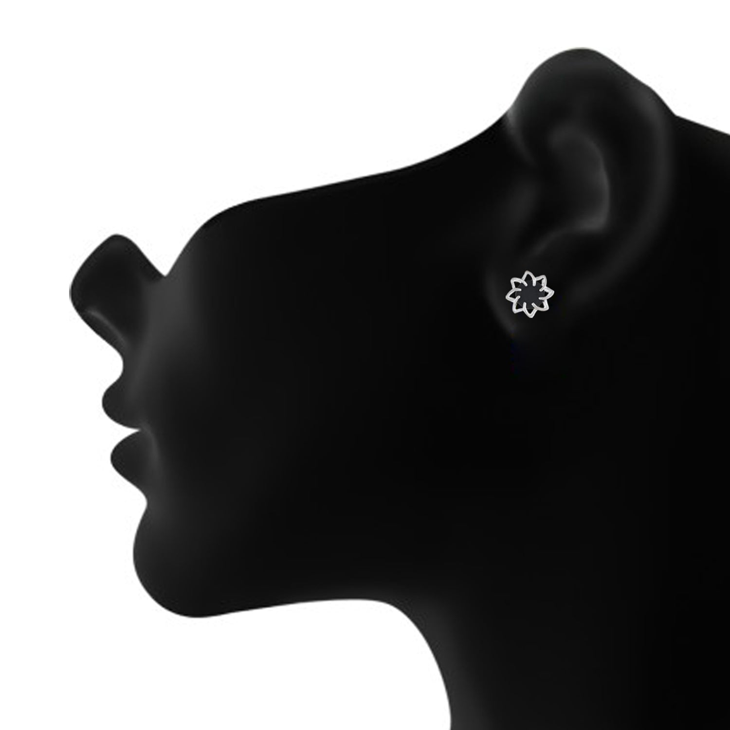 Black colour Floral Design  Stud Earrings for Girls and Women
