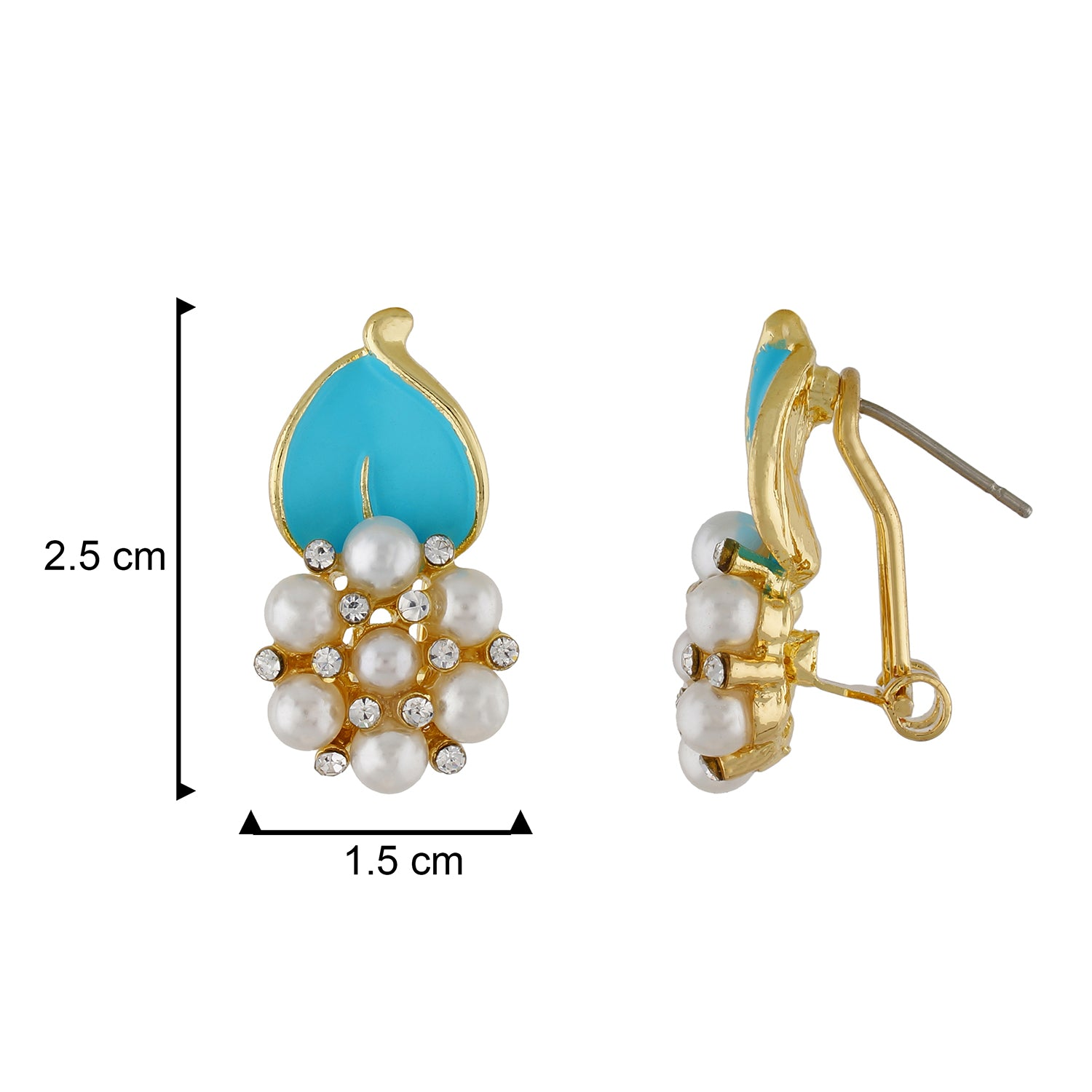 Stylish Light Blue and Gold Colour Flower with Leaf Design Earring for Girls and Women
