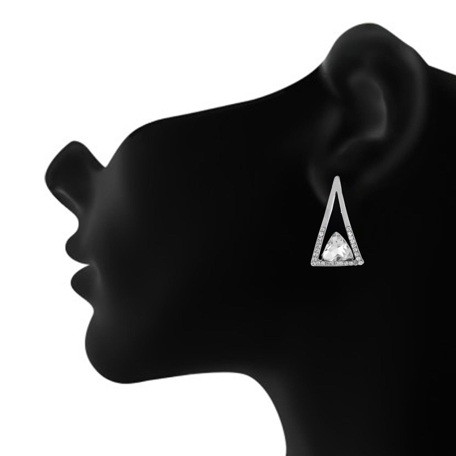 Silver colour Triangular Design Hanging Earrings for Girls and Women