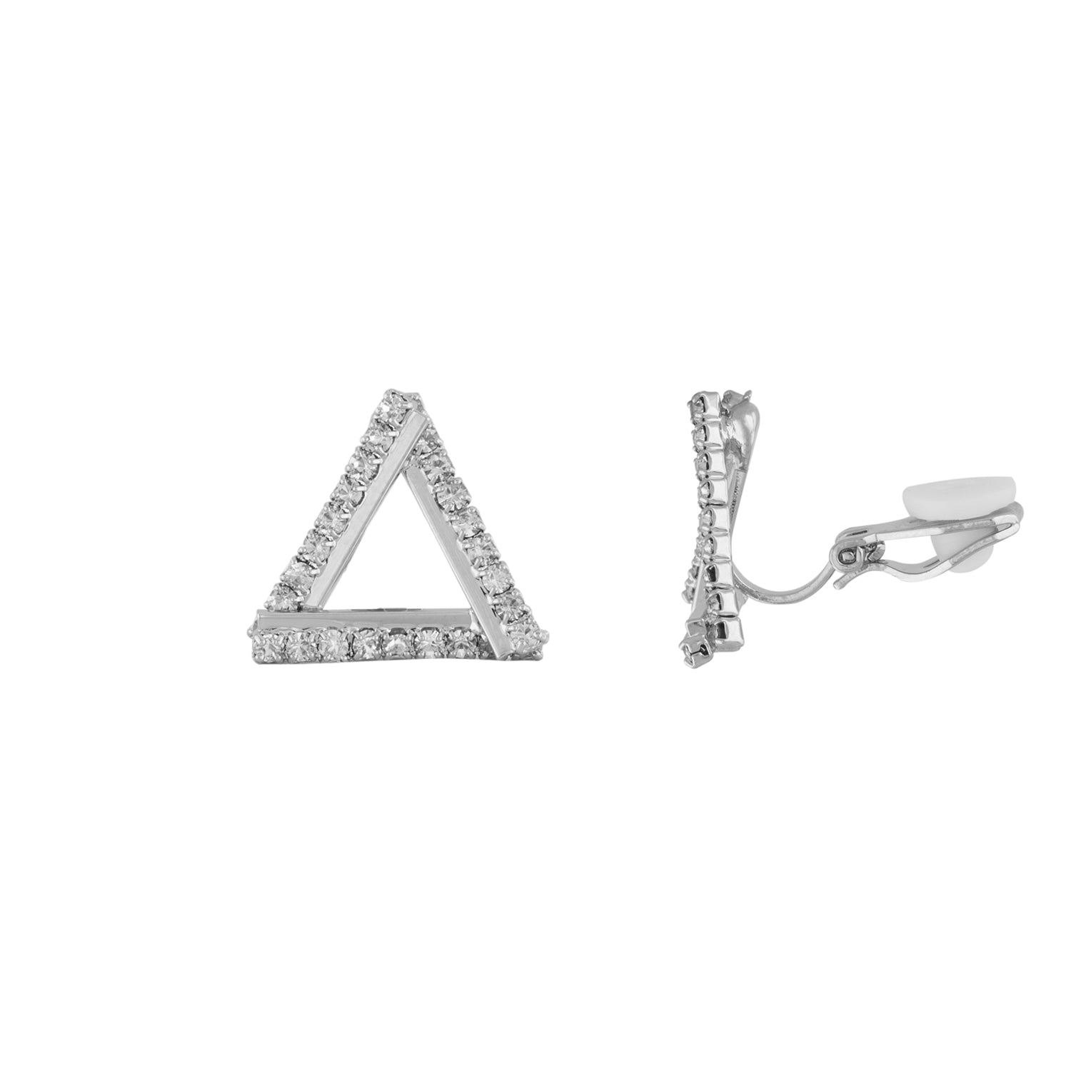 Sassy Silver Colour Triangular Shape Alloy Clip On Earrings for Girls