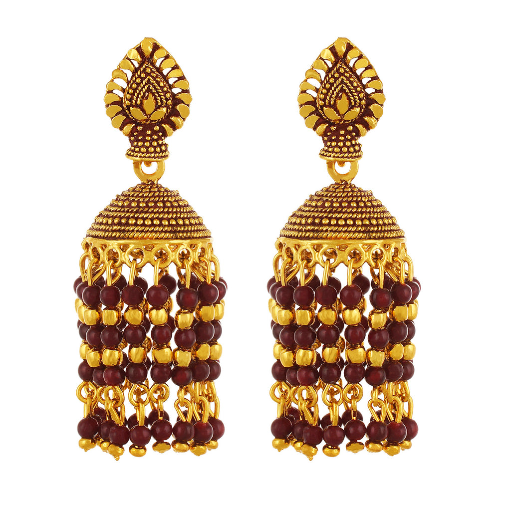 Gold plated Red Beads Jhumki Earrings Fashion Imitaion Jewelry for Girls and Women