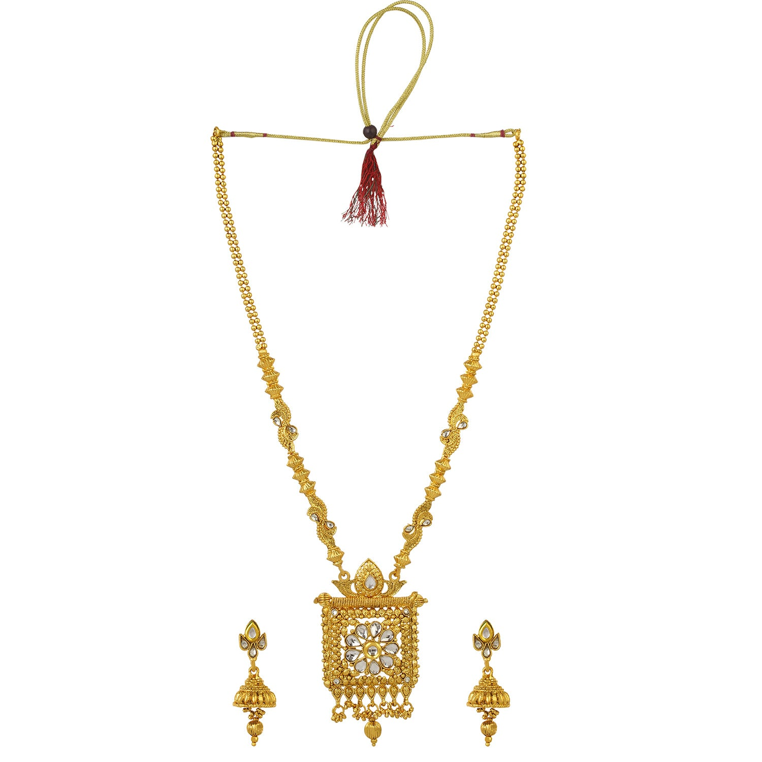 Gold Plated Traditional Long Kundan Pearl Necklace and Jhumki Earrings Fashion Jewelry Set for Women and Girls