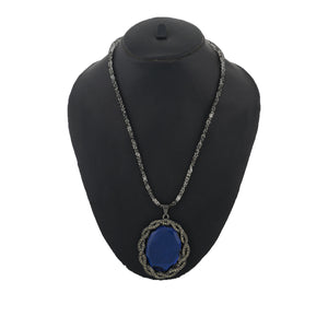 Grey and Blue Colour Drop Shaped Shape Alloy Pendant with Chain for Girls and Women