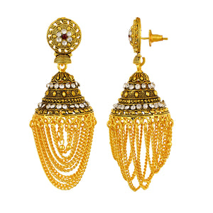 CZ Studded Gold plated Oxidized Alloy Jhumki Earrings Jewelry for Girls and Women