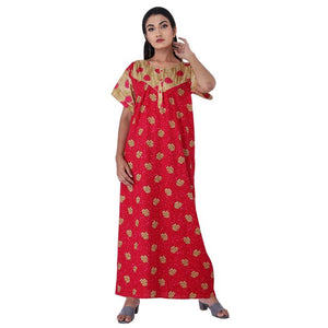 Pink & Beige colour Floral Design Printed Round Neck Cotton Nighty For Ladies Nightwear Full Length Women Night Gown Short Sleeves (Free Size)