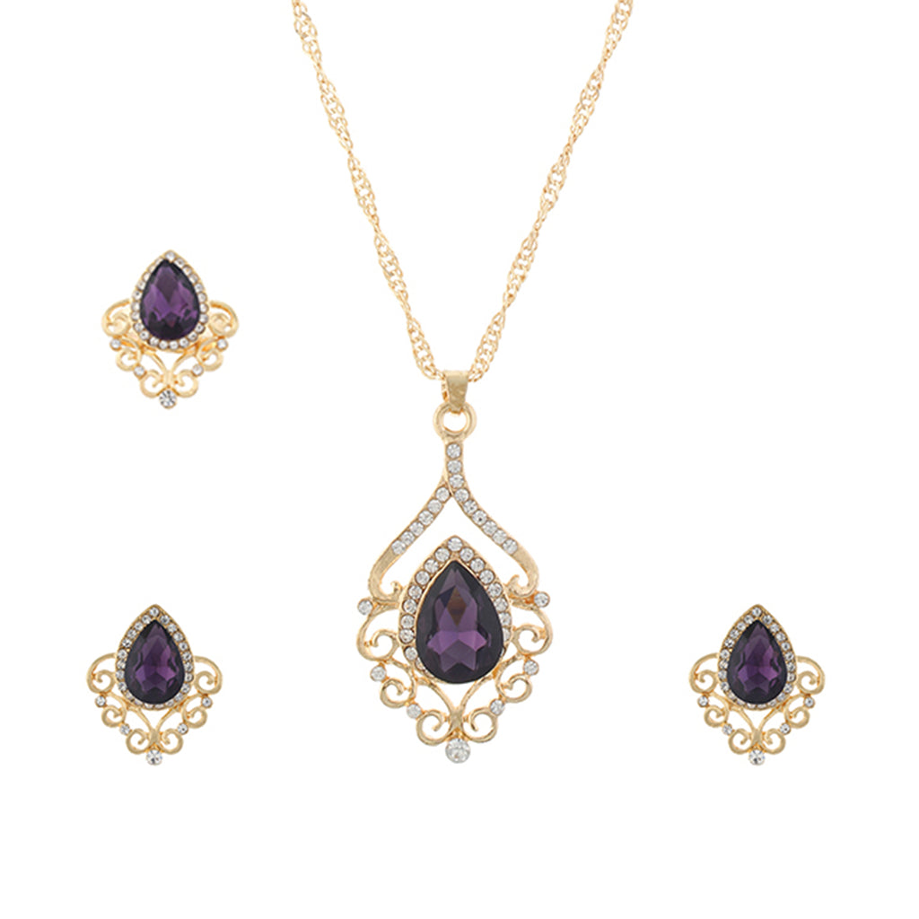 Purple and Gold colour Drop design Pendant Set for girls and women