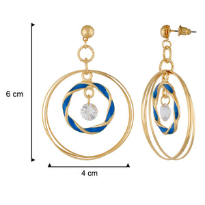 Remarkable Blue and Gold Colour Rings Design Earring for Girls and Women