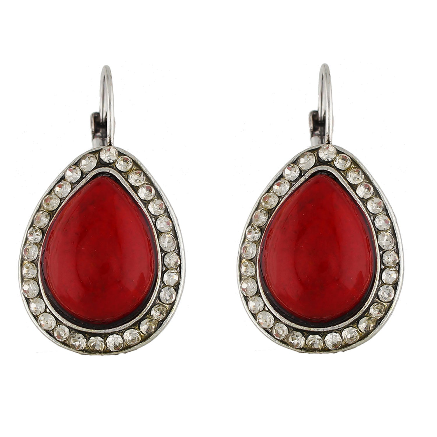 Spectacular Red and Oxide Silver Colour Drop Shape Earring for Girls and Women