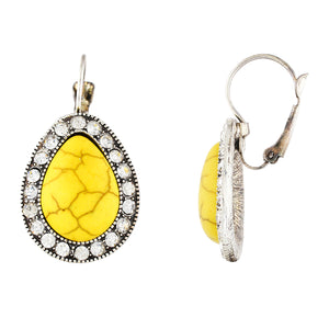 Spectacular Yellow and Oxide Silver Colour Drop Shape Earring for Girls and Women