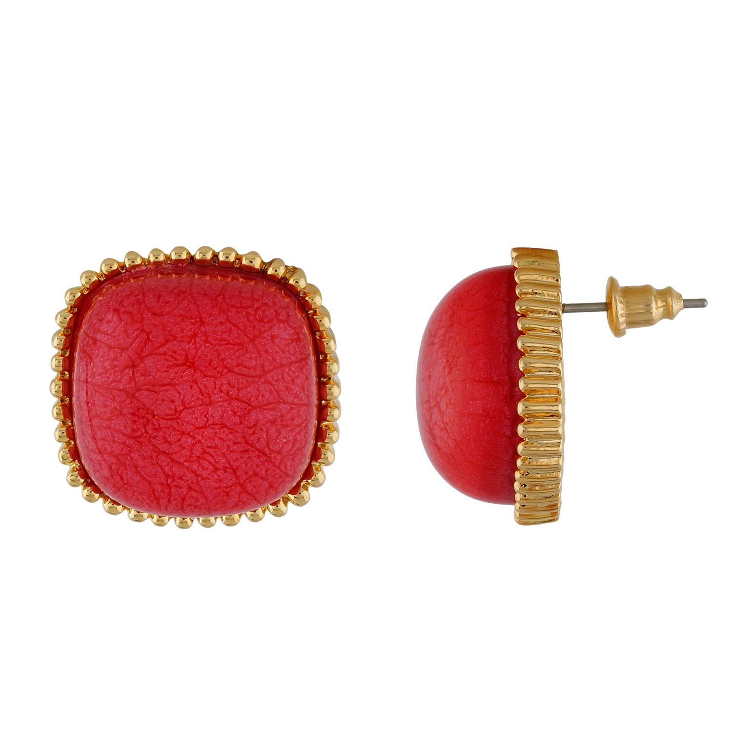 Wonderful Tomato Red Colour Square Shape Earring for Girls and Women