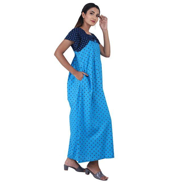 Blue colour Geometric Design Printed Square Neck Cotton Maternity Feeding Nighty For Ladies Nightwear Full Length Women Night Gown Short Sleeves (Free Size)