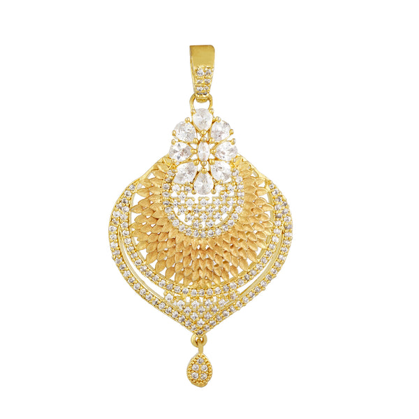 Stylish Geru Antique Gold Plated CZ Copper Pendant Set for Ladies and Girls
