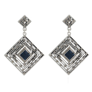 Mind Blowing Grey Colour Rhombus Shape Earring for Girls and Women