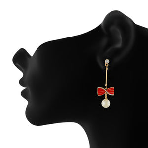 Incredible Red and Gold Colour Bow Design Enamel Enhanced Earring for Girls and Women