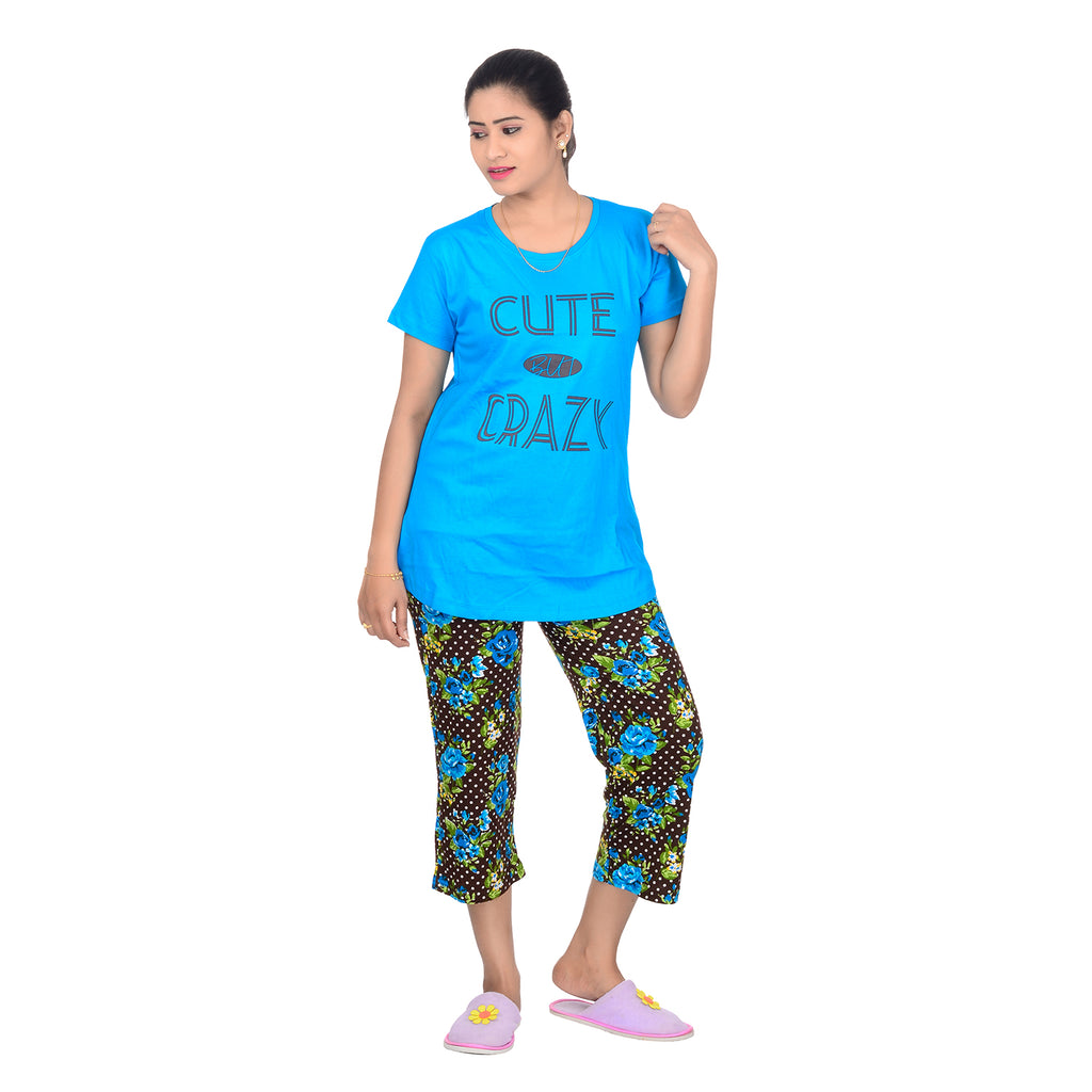 Women's Cotton Hoisery Printed Capri Night Dress Night Suit Nightwear for Ladies (Blue & Multi Colour, Sizes L, XL and XXL)