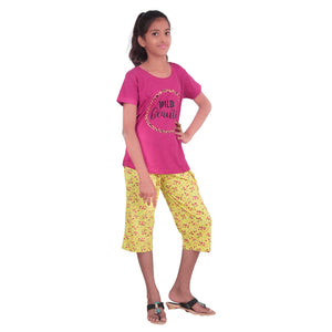 Girls Cotton Hosiery Printed Capri Night Dress - Pink and Yellow