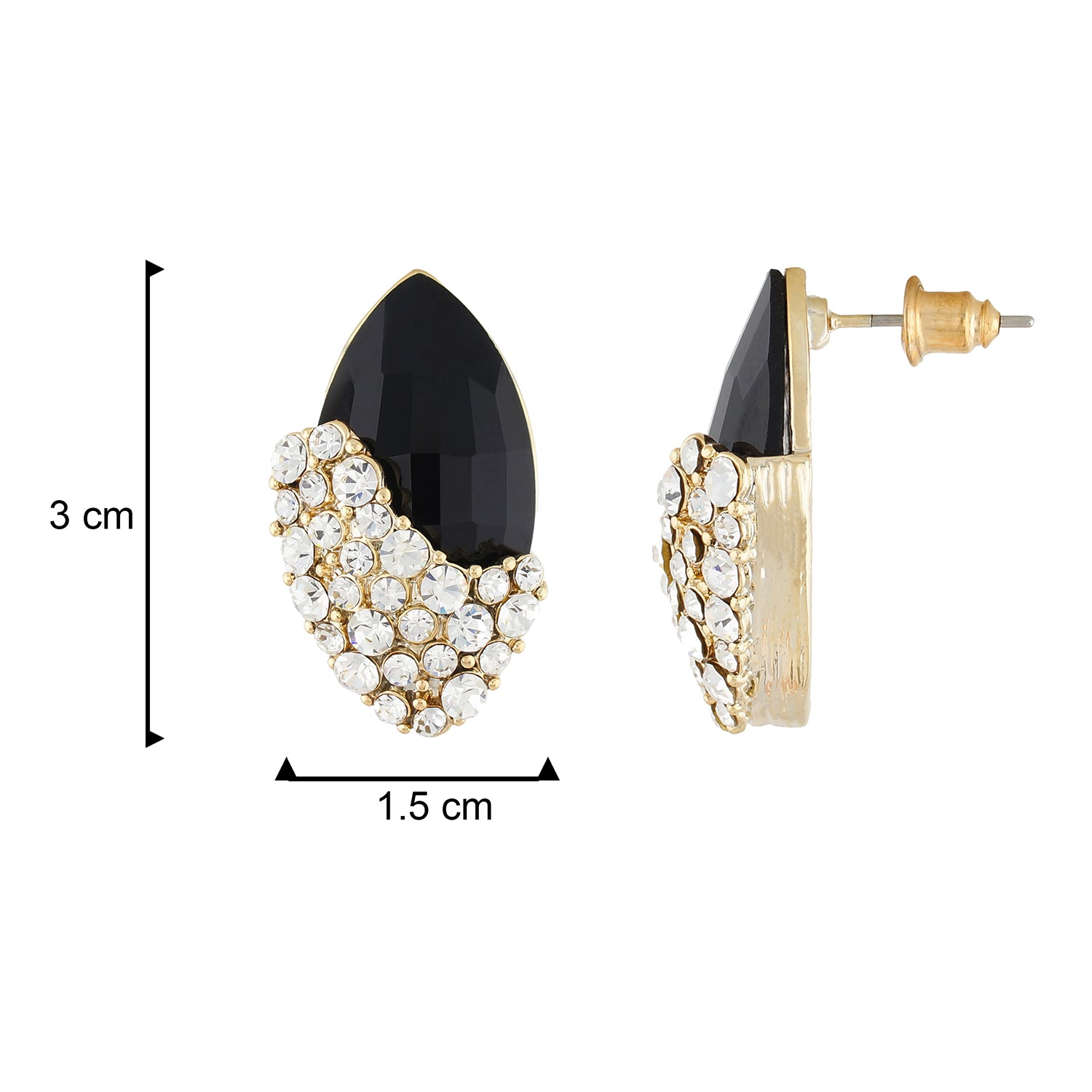 Blissful Black and Gold Colour Oval Shape Earring for Girls and Women