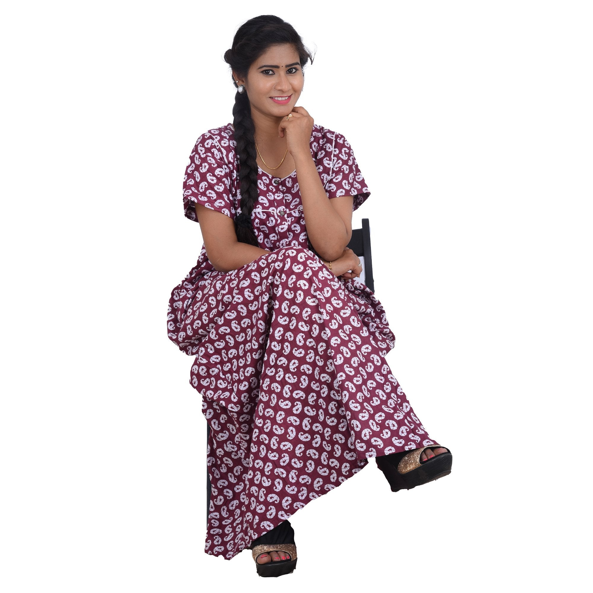 Printed Cotton Nighty For Ladies
