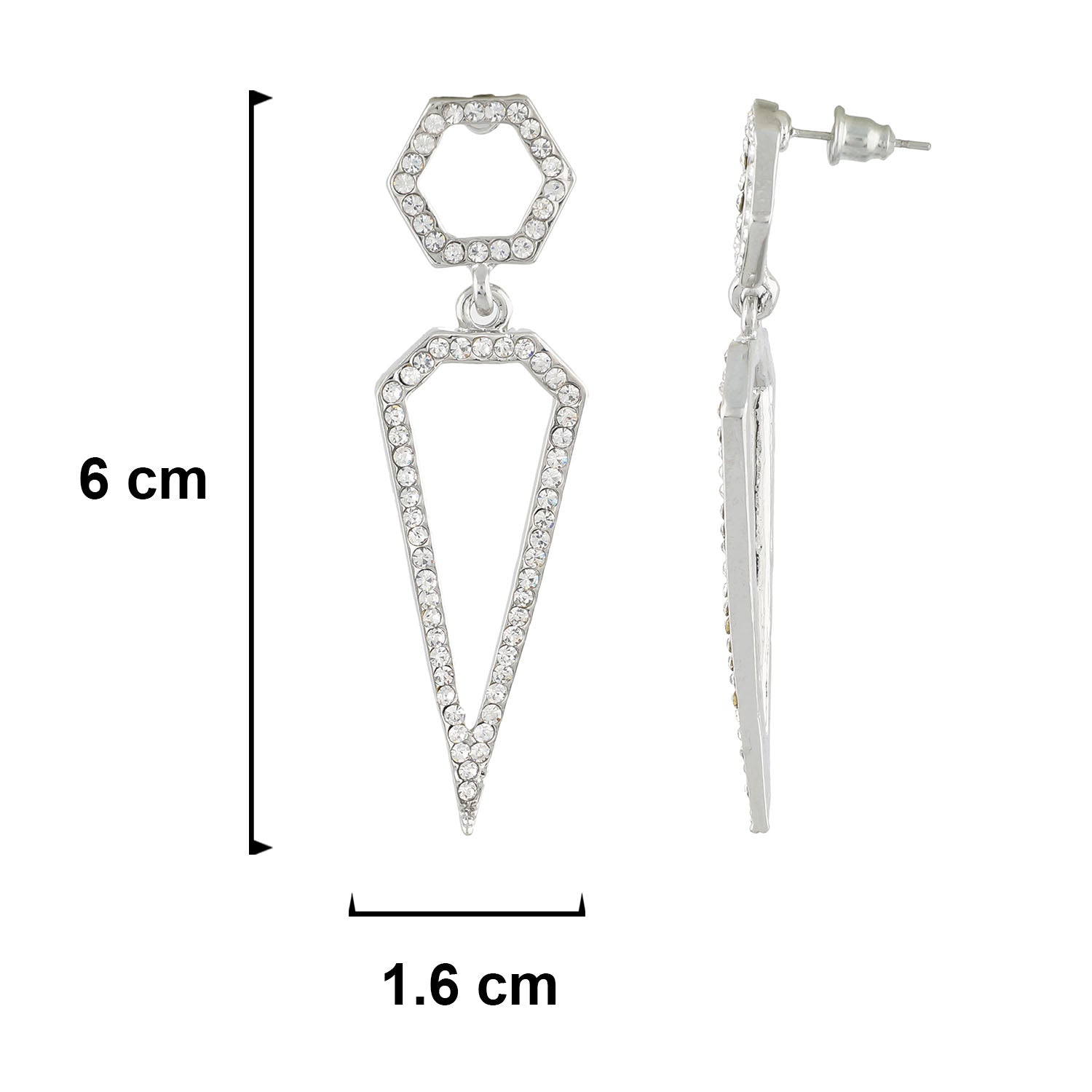 Dazzling Silver Colour Geometrical Design Earring for Girls and Women