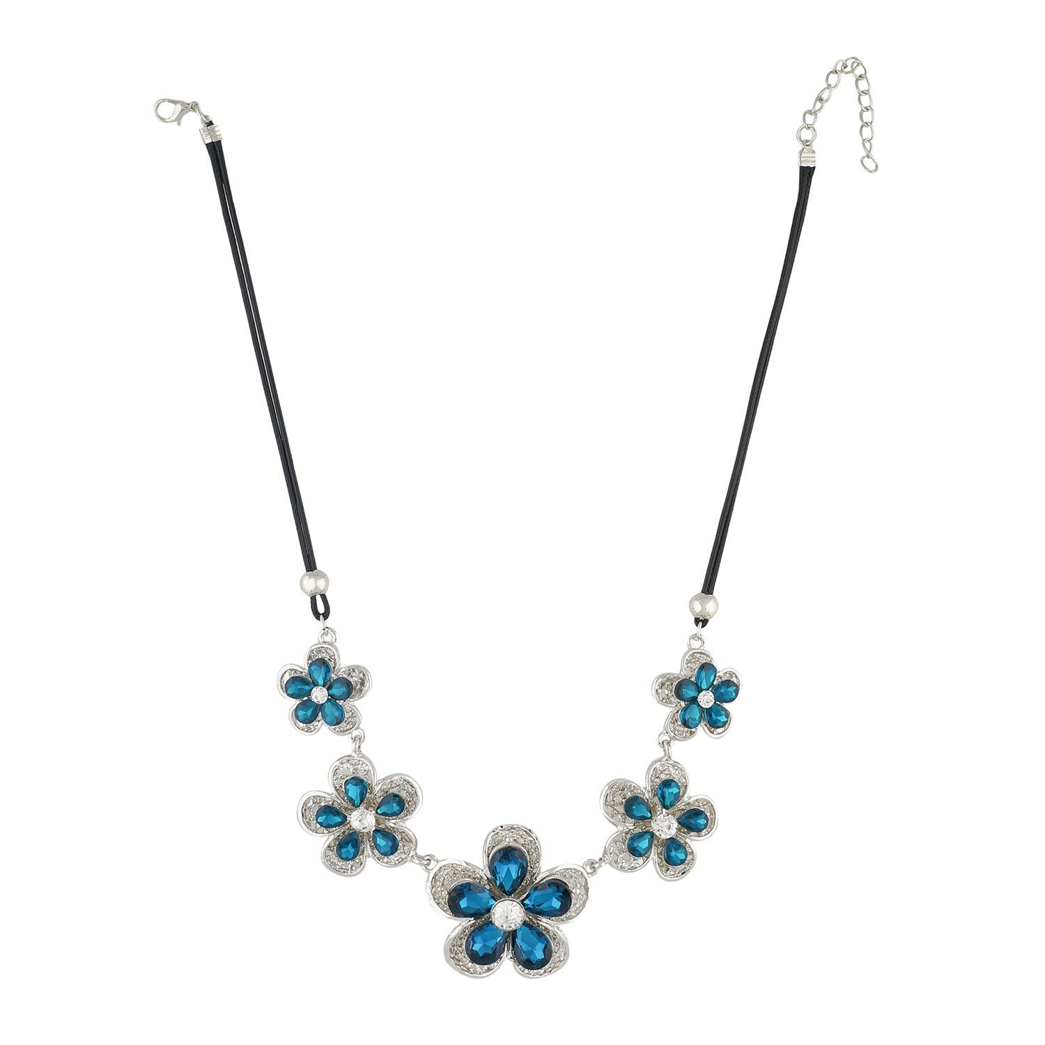 Silver and Blue Coloured stones studded Floral  Necklace For Girls and Women
