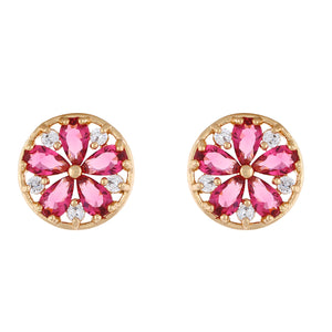 Red colour Round Design  Stud Earrings for Girls and Women