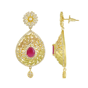 Smart Floral Design Gold Plated CZ Copper Hangings for Ladies and Girls