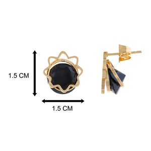 Black colour Floral design  Studs for girls and women