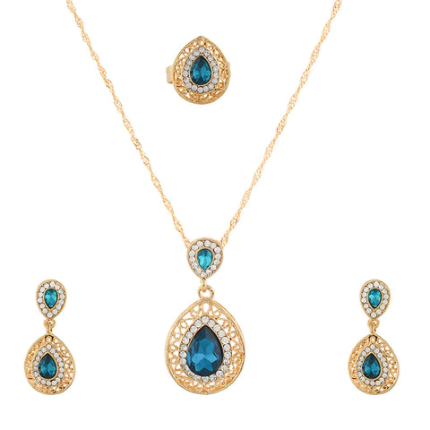 Blue small  Pendant Set  With Hangings & Ring For Girls and Women