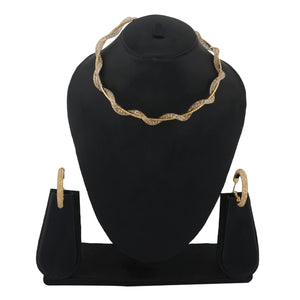 Gold Colour Formless Necklace and Earrings for Girls and Women