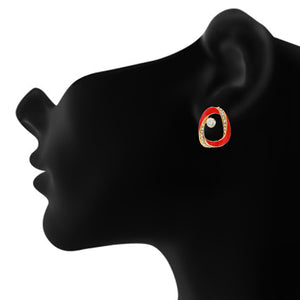 Contemporary Red and Gold Colour Oval Design Enamel Enhanced Earring for Girls and Women