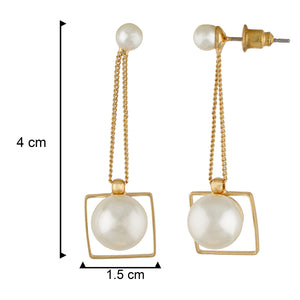 Stunning Gold Colour Square Shape Pearl Earring for Girls and Women