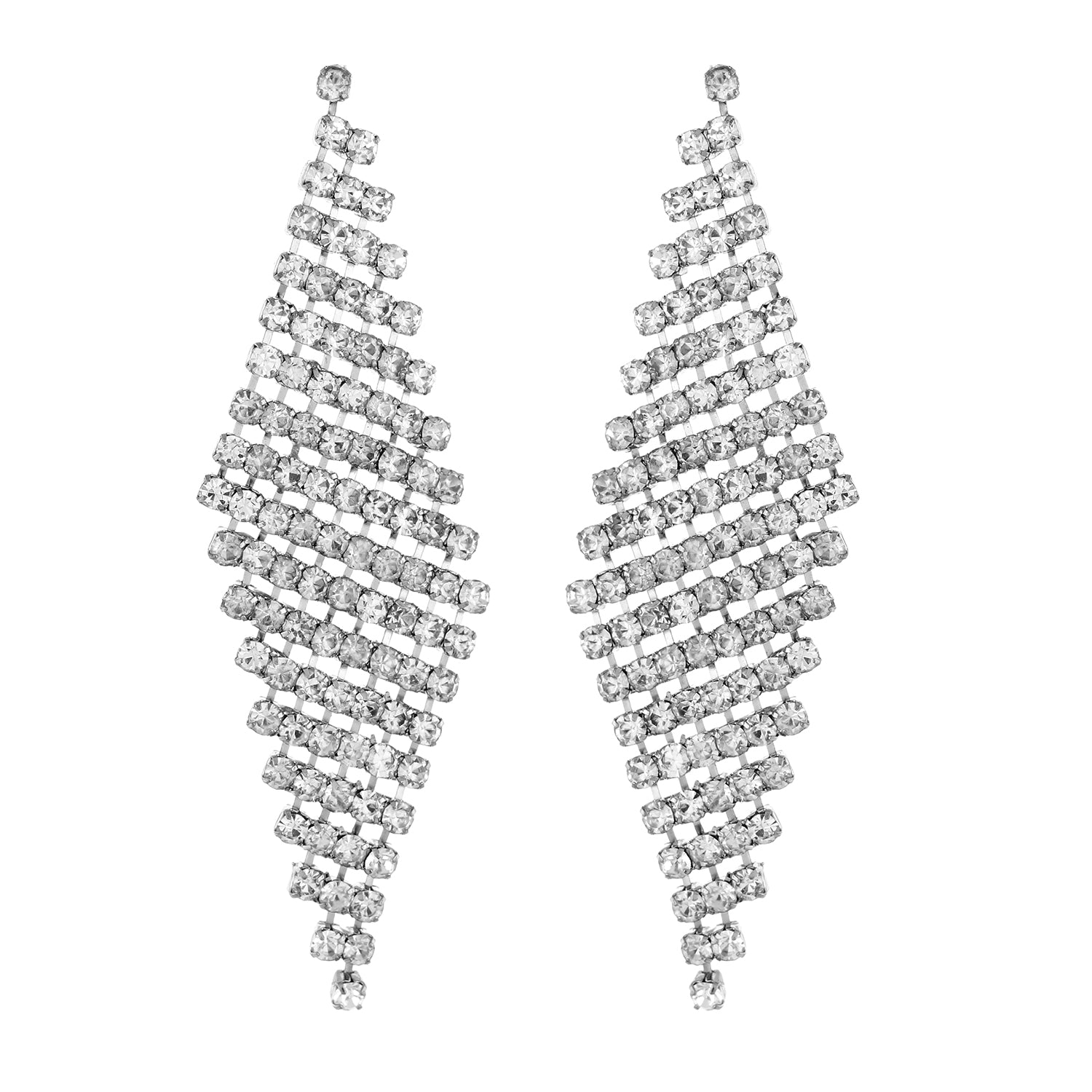 Silver colour Rhombus Design Hanging Earrings for Girls and Women