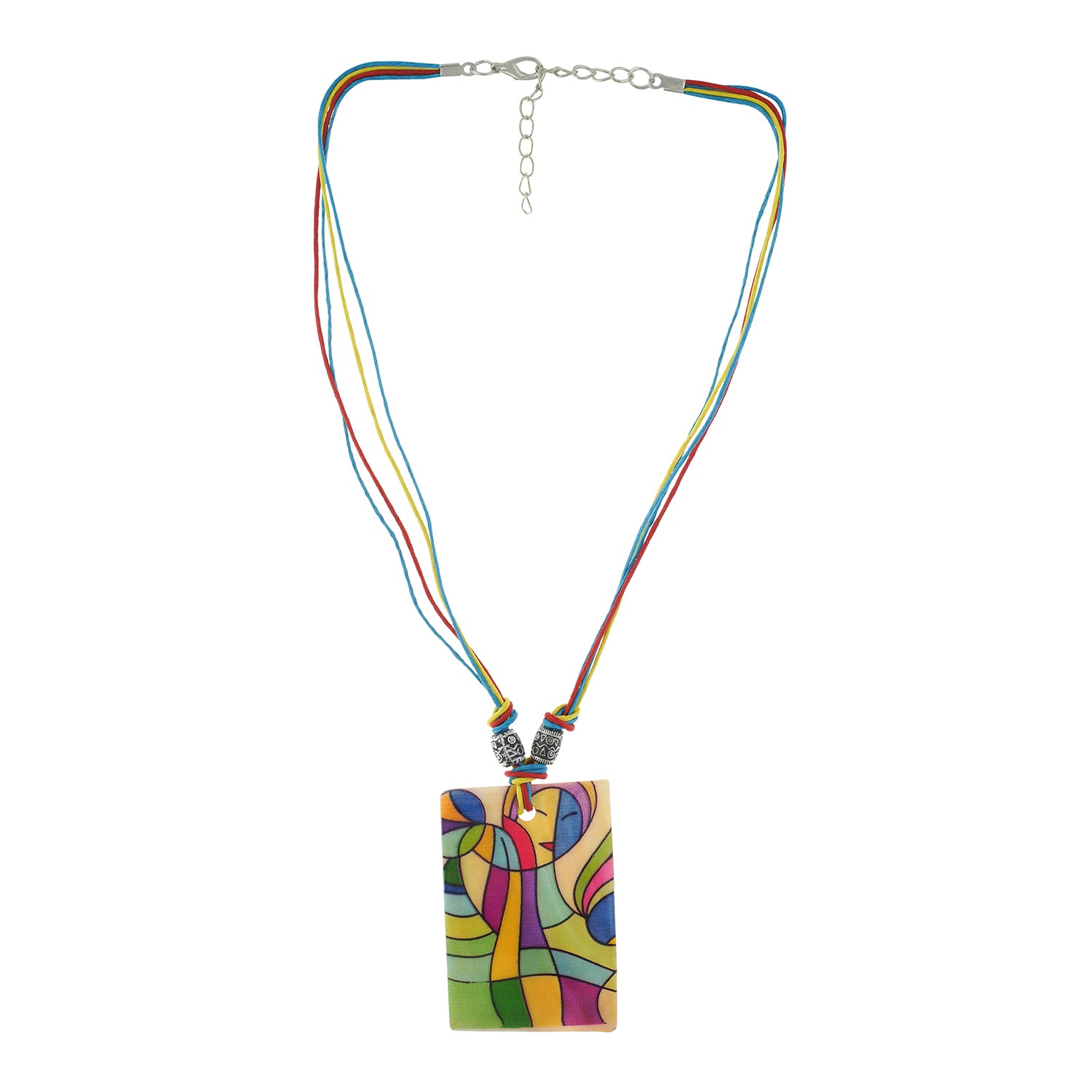 Multi colour Rectangular design Necklace Set for girls and women