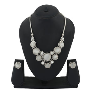 Silver Colour Round Necklace and Earrings for Girls and Women