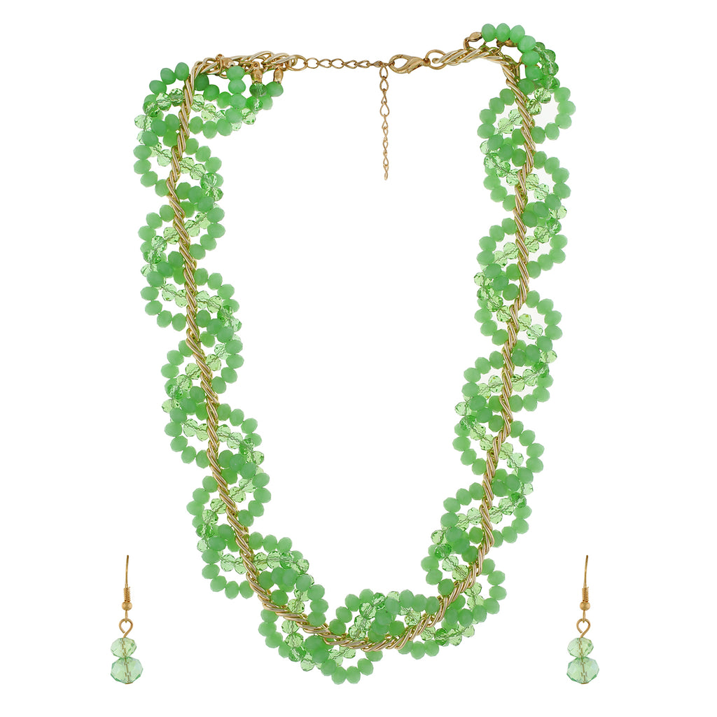 Green colour Beaded design Necklace Set for girls and women