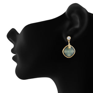 Green colour Rohmbus Design Hanging Earrings for Girls and Women