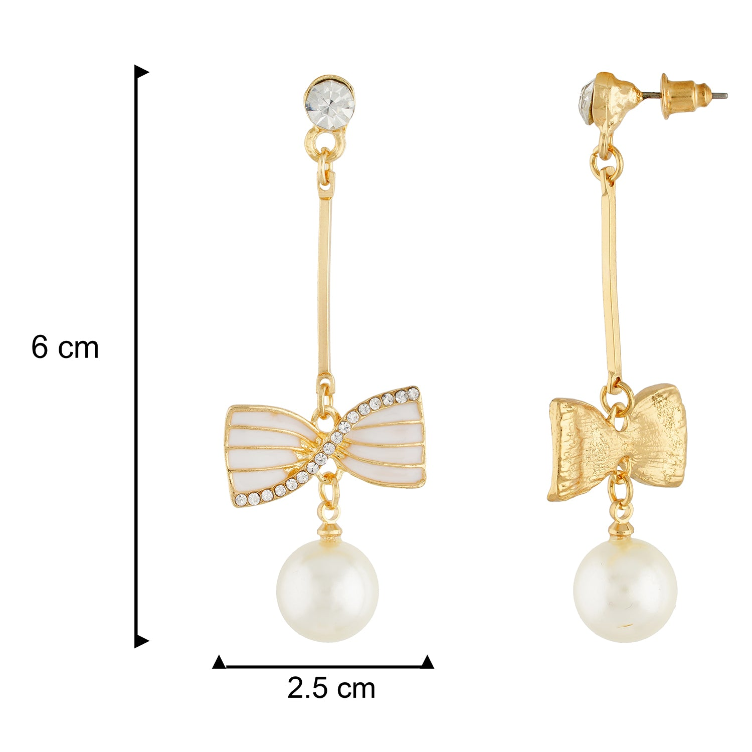 Incredible White and Gold Colour Bow Design Enamel Enhanced Earring for Girls and Women