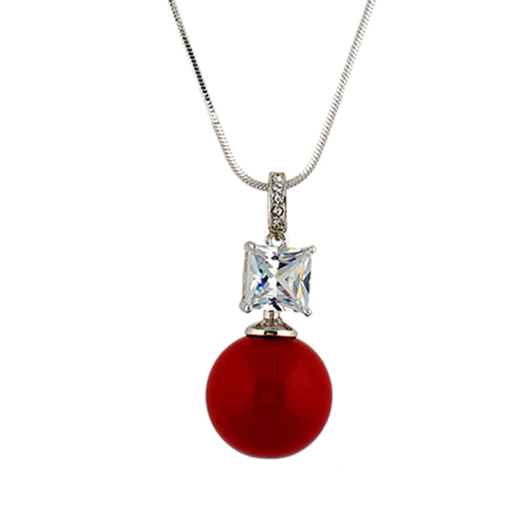 Grey Colour Red Ball Shape Alloy Pendant with Chain for Girls and Women